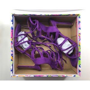 Lace Up Suede Heels Purple